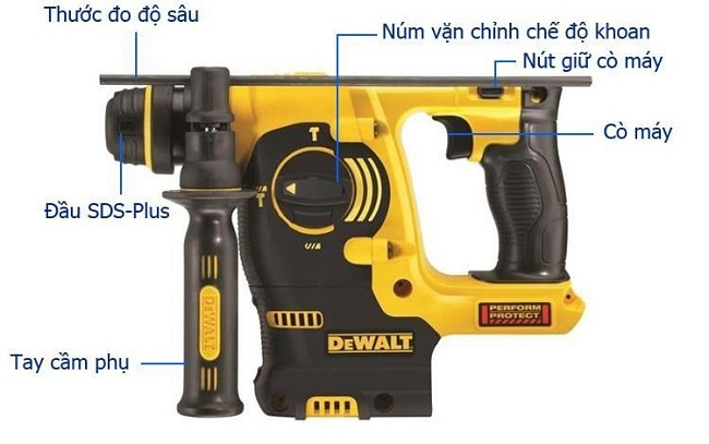 may khoan be tong dung pin DeWalt 18V DCH253KN